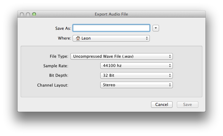 File Export Dialog